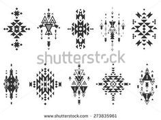 Tribal elements, ethnic collection, aztec stile, tribal art, tribal design  isolated on white background
