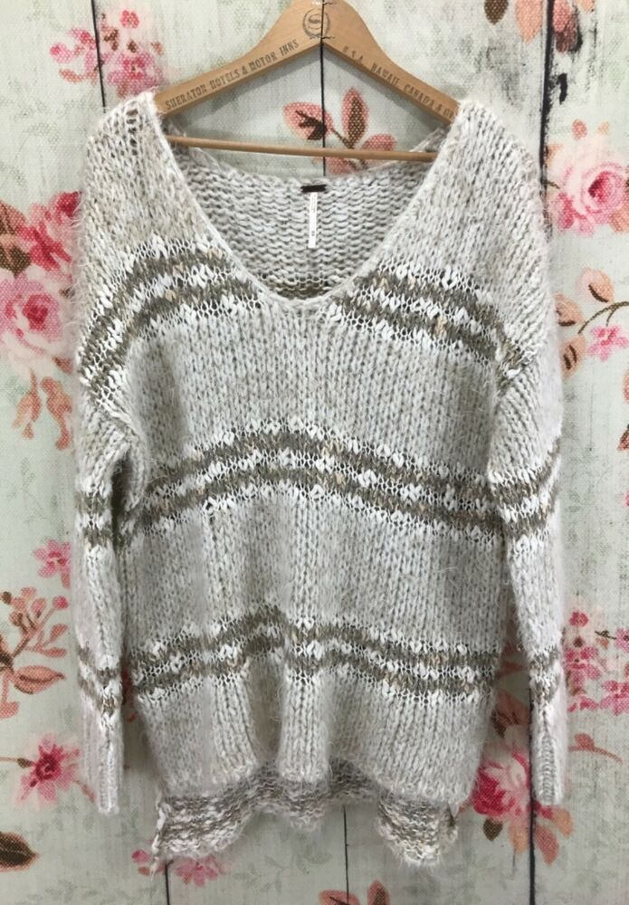 Free People Womens Knit Lace Pullover Top