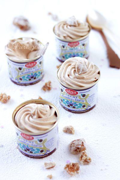 Mousse à la crème de marrons (comme des Maronsuiss' maison) seulement 2 ingrédients: crème fleurette et crème de marrons - www.Puregourmandise.com #Clément #Faugier