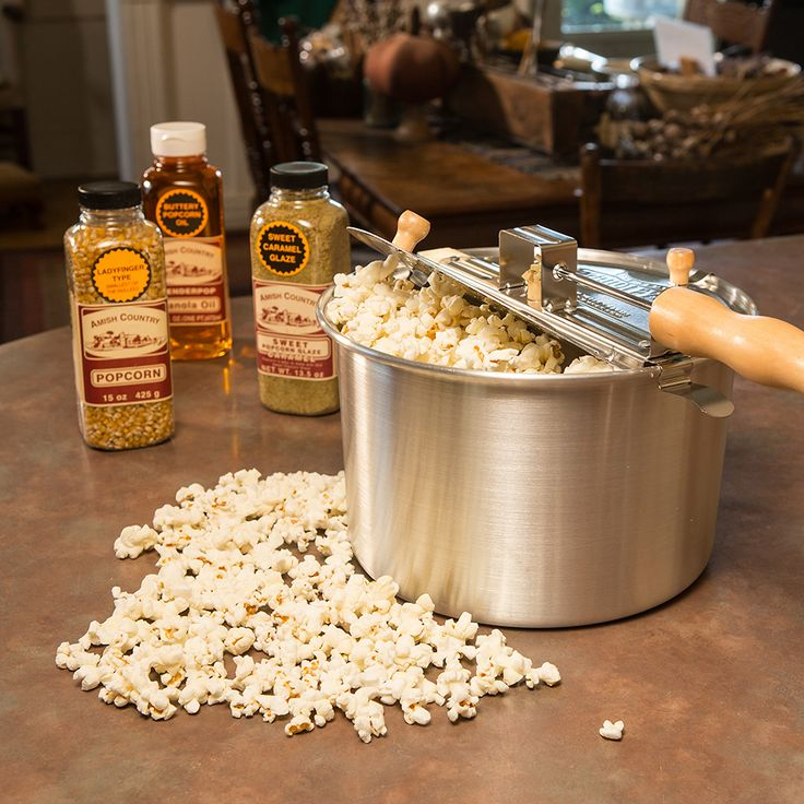 Popcorn is a special treat no matter what time of year it is.           Large, 6-quart popper can be used on gas, electric, even wood stoves         15 oz gourmet ladyfinger popcorn (our favorite)         16 fl oz buttery canola oil         13.5 oz sweet caramel glaze         Popper is 9ID x 6D         Total weight 5-1/2 lb         Made of imported and USA-made products.