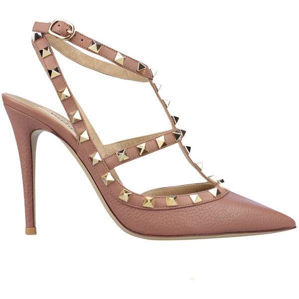 VALENTINO GARAVANI Decolleté Rockstud Sling-Back (€790) ❤ liked on Polyvore featuring shoes, pumps, heels, pink, studded pumps, leather pumps, high heel slingbacks, pink high heel pumps and ankle strap pumps
