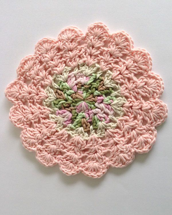 Free Knitted Round Dishcloth Patterns : Dishcloths In The Round Crochet Pattern Set Beautiful, Colors and Pictures of