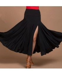 Black colored women's ladies female competition swing hem side split standard…