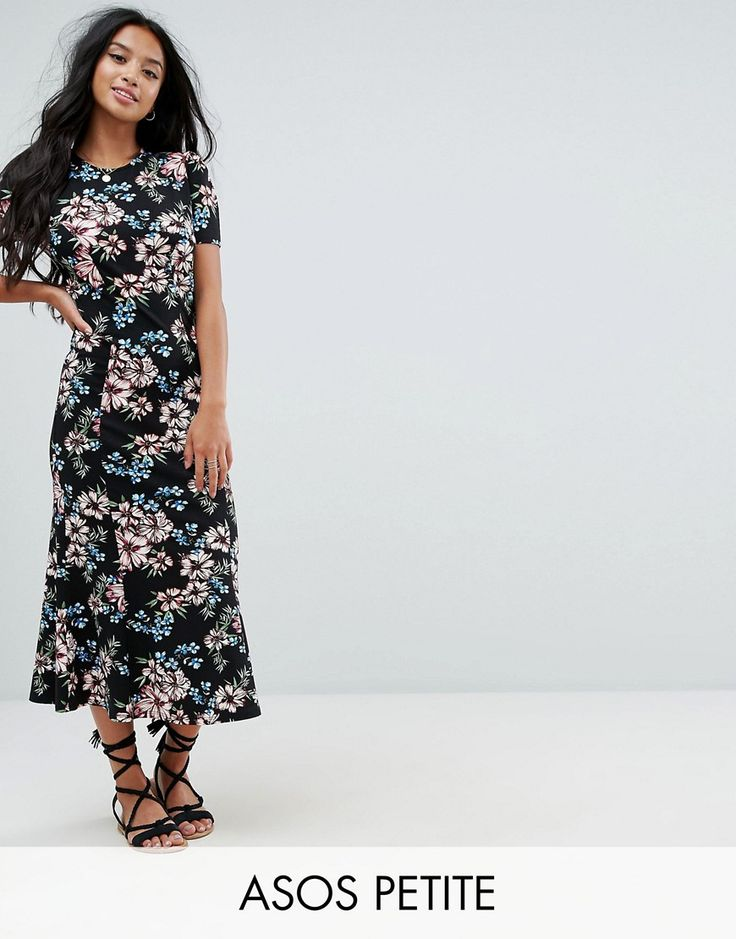 Buy it now. ASOS PETITE City Maxi Tea Dress In Black Base Floral - Navy. Petite dress by ASOS PETITE, Lightweight woven fabric, Floral print, Round neck, Regular fit - true to size, Machine wash, 93% Viscose, 7% Elastane, Our model wears a UK 8/EU 36/US 4 and is 158cm/5'2 tall, Maxi dress length between: 128.5-143.5cm. 5�3�/1.60m and under? The London-based design team behind ASOS PETITE take all your fashion faves and cut them down to size. Say goodbye to all your short-girl problems wit...