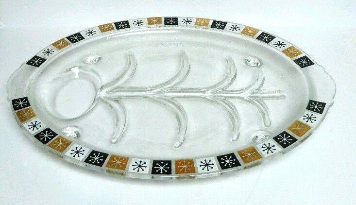 Inland Glass Atomic Tray Mid Century Modern Platter Plate Serving Oval Dish VTG