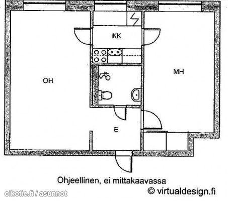 2 rooms and a kitchenette (40m2) / Pikkukaksio keittokomerolla (40m2) #kaksio #pohjapiirros #floorplan