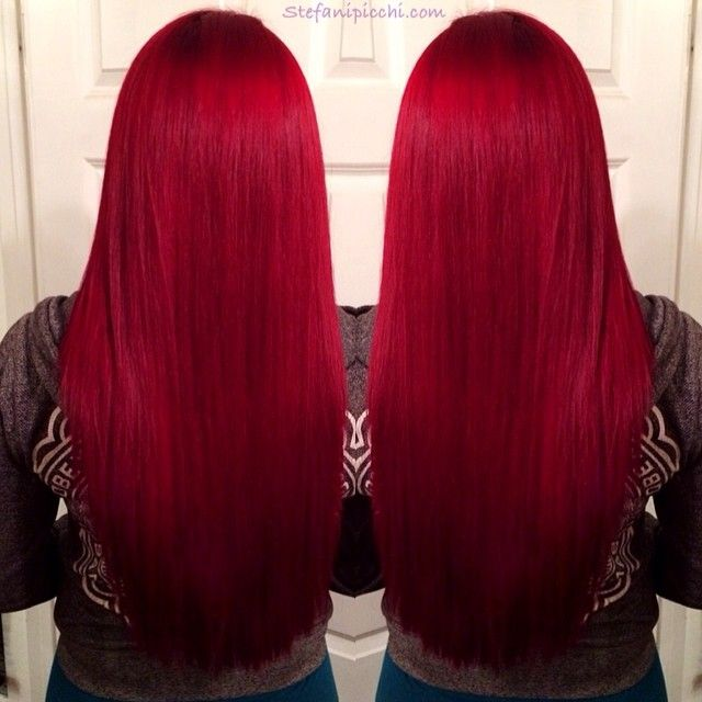 Pre-Colored Remy Human Hair Red Straight