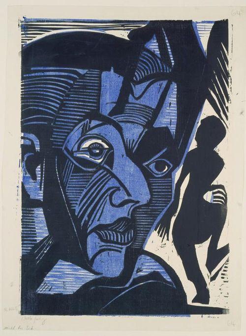 "amare-habeo: "" Ernst Ludwig Kirchner (German, 1880–1938) Self-Portrait (Melancholy of mountains) (Selbstbildnis (Melancholie der Berge)), 1929 Woodcut """