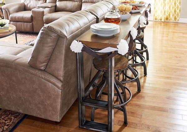 Chandler Sofa Table Bar Set Brown Sofa Table Bar Table And Stools Living Dining Room