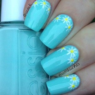 """Instagram photo by amkuch15 - Simple Daisy manicure using Essie's """"Mint Candy Apple"""" with acrylic paints for the flowers!"""
