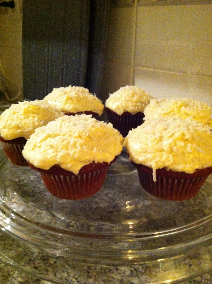Red velvet cupcakes with coconut cream cheese icing