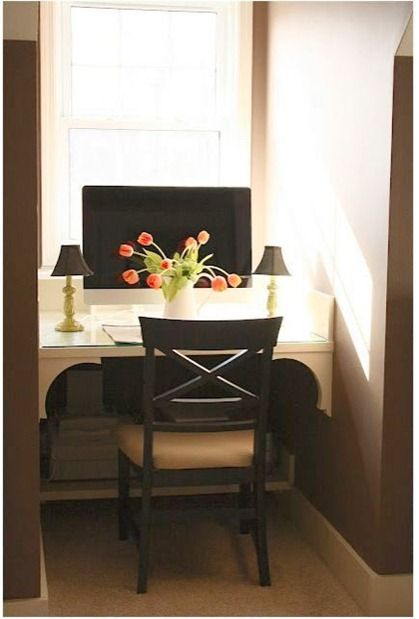 Nothing is worse than sinking into a soft couch when you're trying to power through your inbox or balance your bills. If you don't have a designated office space, transform a dormer into one by adding a built-in desk.  See more at The Yellow Cape Cod »   - HouseBeautiful.com