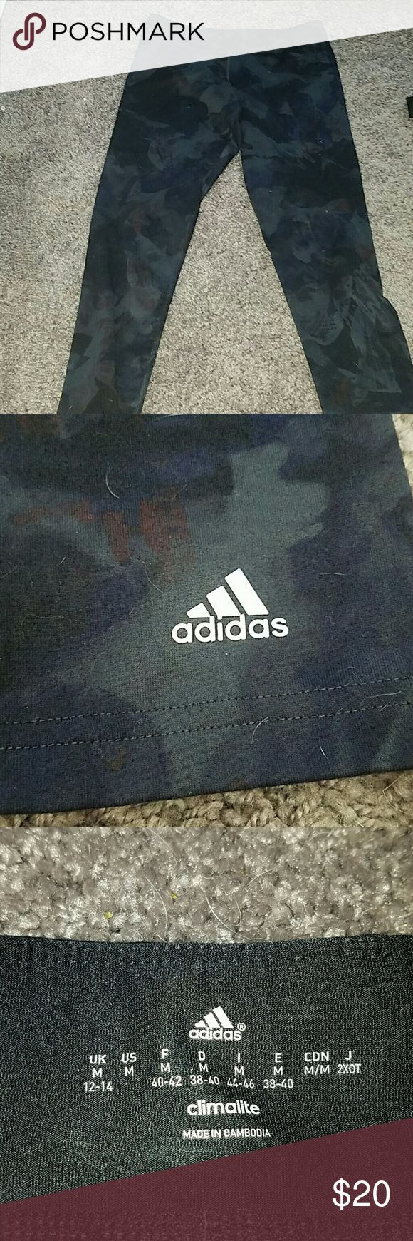 Black Adidas Camouflage leggings They have only been worn a few times but they are still in pretty good condition. They are to small for me and that is why I'm getting rid of them. The price is not set in stone Adidas Pants Leggings