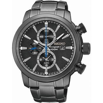 Montre Seiko Sport Homme SNAF49P1 - Quartz - Chronographe - Cadran et Bracelet Acier inoxydable Noir - Date - Alarme