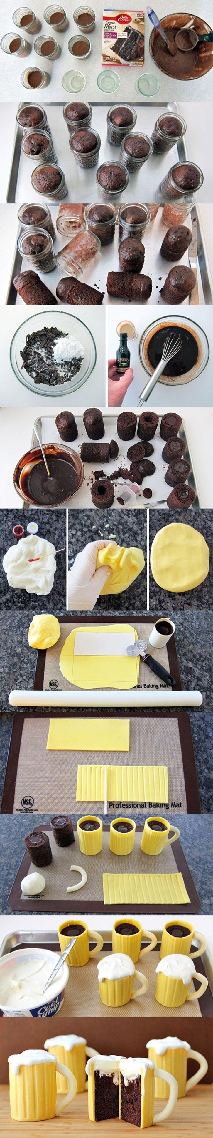 Wonderful DIY Beer Mug Cupcakes with Baileys Filling   WonderfulDIY.com