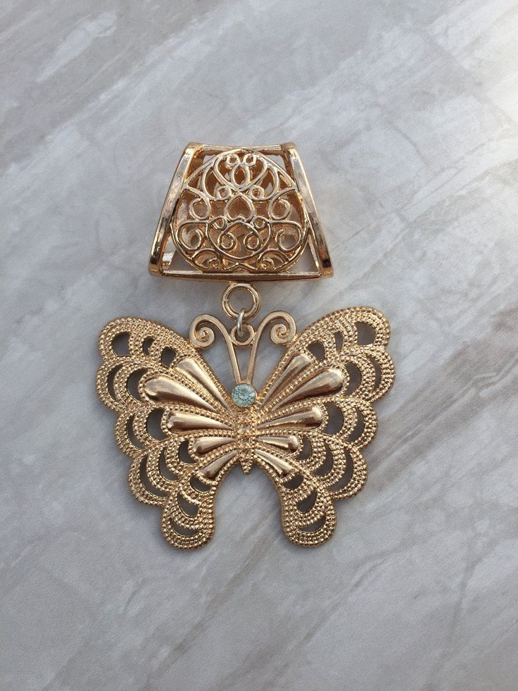Gold Rhinestone Butterfly Scarf Bail, Gold scarf bail, scarf pendant, scarf ring, scarf slider, scarf jewelry, scarf jewellery by DianaSianCrafts on Etsy