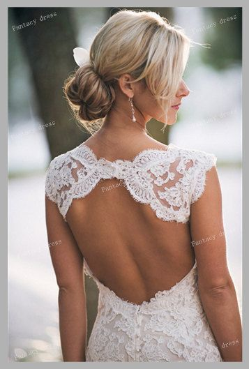 Custom Made Backless V neck Lace Wedding Dresses by Fantacydress, $349.99