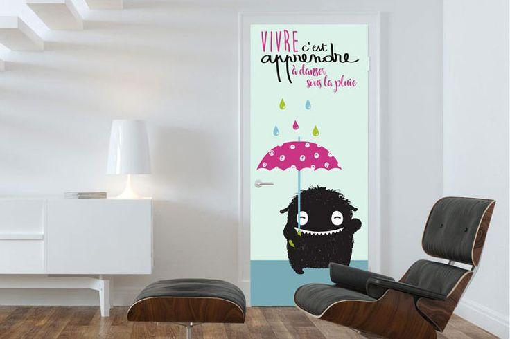 Vivre, c'est apprendre à danser sous la pluie Poster de porte vendu par Scenolia (59€)
