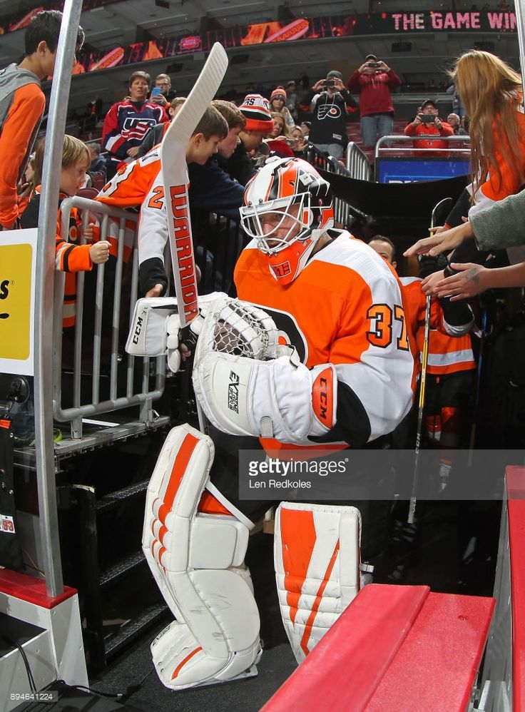 Brian Elliott #37 of the Philadelphia Flyers enters the ice surface for warmups prior to his game against the Toronto Maple Leafs on December 12, 2017 at the Wells Fargo Center in Philadelphia, Pennsylvania.