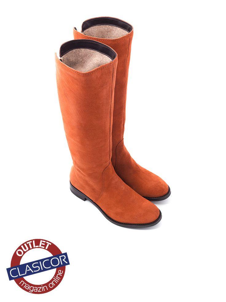Cizme din piele intoarsa, dama, aramiu – 17040 | Pantofi piele online / outlet incaltaminte piele | Clasicor