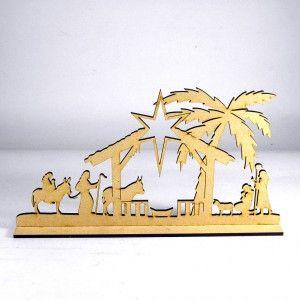 Nacimiento decorativo en madera MDF cortado en laser. Ideal para la decoración da Navidad en espacio reducidos.