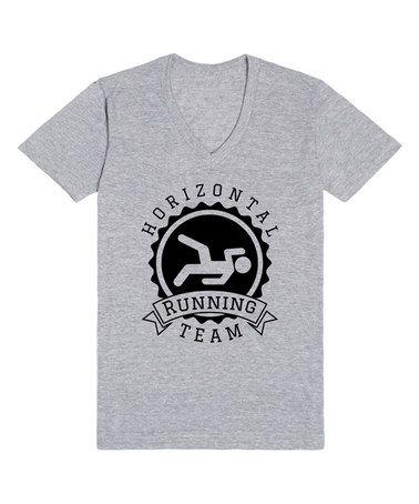 Look what I found on #zulily! Heather Gray 'Horizontal Running Team' V-Neck Tee by Skreened #zulilyfinds