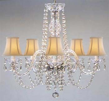 would love to see the shades in purple....New Authentic All Crystal Chandelier with Shades | eBay