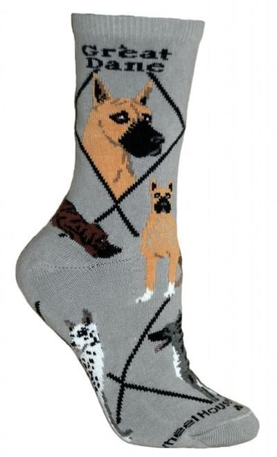 Great Dane Dog Gray Cotton Ladies Socks