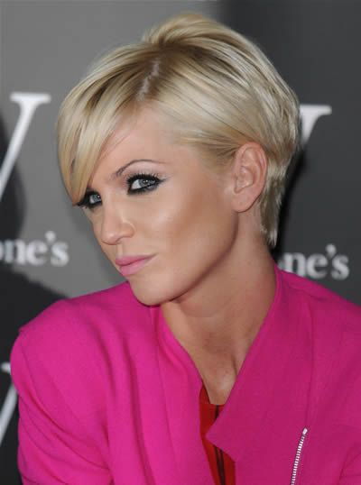 Hairstyle Trends: short blonde hairstyle from Sarah Harding. Styling option, tucked behind ear