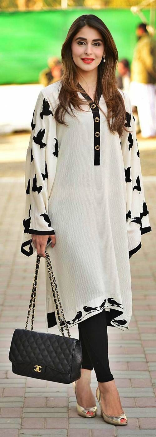 I'm not a fan of animal prints on cloth but i like this black & white kurta: