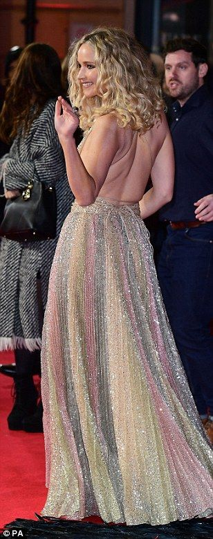 Jennifer Lawrence ignored any critics following the BAFTA Joanna Lumley controversy as she took to the red carpet for the Red Sparrow European Premiere at Vue Cinema West End, London , on Monday, wearing an incredible golden gown