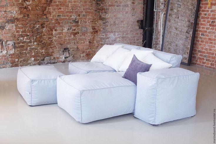 Купить Модульный набор с лежаком - голубой, бескаркасный диван, лежак, диван, диван для гостиной