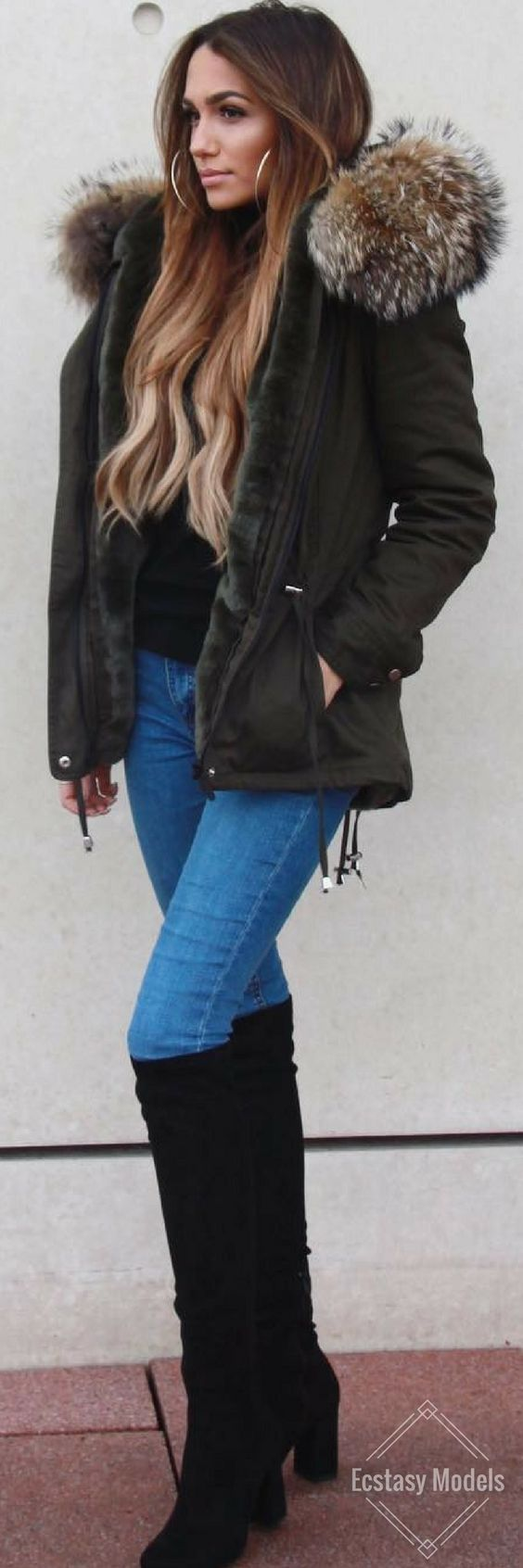 So in love with my WeLoveFurs Petite Parka // Fashion Look by Dajana... | Street Fashion