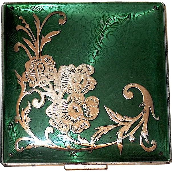 Antique vintage 1950's Lucite Covered Compact w Guilloche Enamel and Sterling Silver Overlay