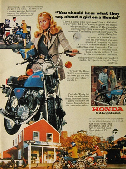 vintage honda motorcycle ads. 1976 vintage honda motorcycle ad a girl on motorcyle ads