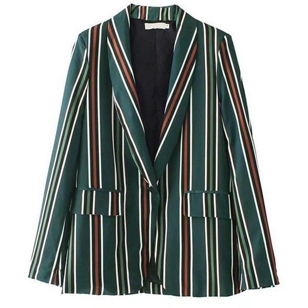Mackenzie Green Stripe Casual Blazer ($50) ❤ liked on Polyvore featuring outerwear, jackets, blazers, green blazer jacket, striped blazer, green jacket, green blazer and striped jacket