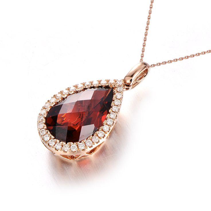 Garnet Diamond Pendant 14K Ross Gold