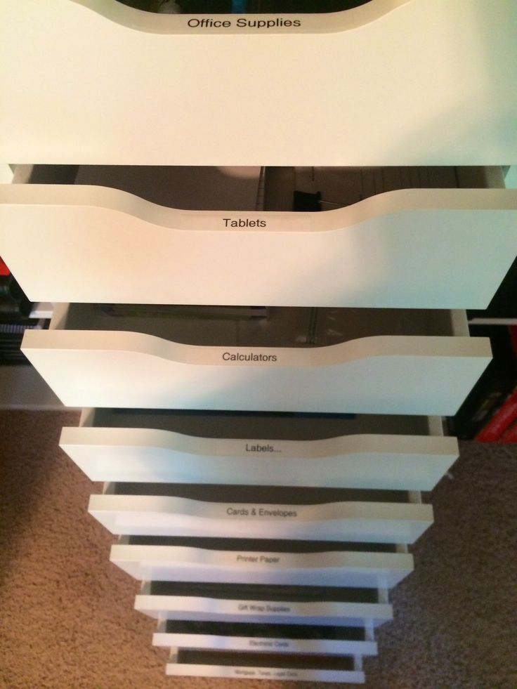 Office supply storage in Ikea Alex Drawers. Sort and label. #truorderorganizingprojects