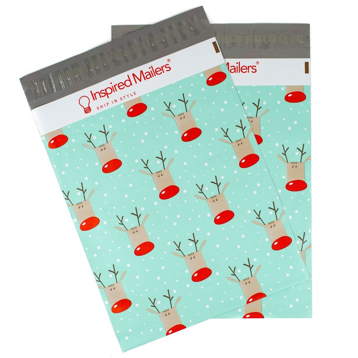 "Reindeer Printed Mailers 10x13"" - Pack of 100 - Writable Surface: No Labels Required"