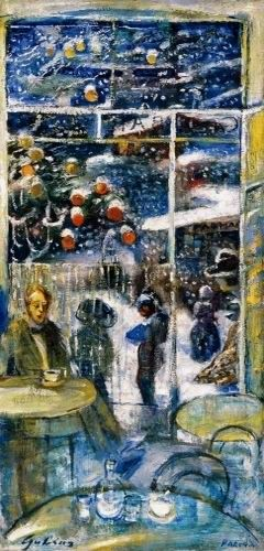 Gulácsy Lajos: (1909-1910) -  NAKONXIPÁNBAN HULL A HÓ (EGYNAPOS HÓ)  1909  Olaj, vászon (magángyűjtemény) (Jelezve jobbra lent: Padova )