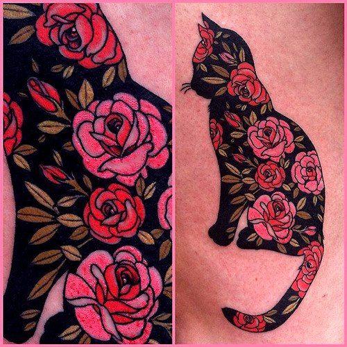 Patterned cat tattoo