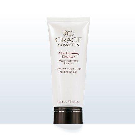 Aloe foaming cleanser.  Natural skin care regime cosmeceutical
