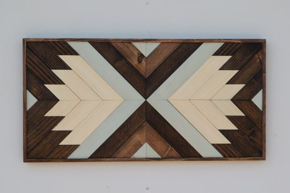 Wood Wall Art - Contemporary Geometric Wood Wall Hanging - 2 ft x 1 ft Wall Art - Home Decor with Natural Pine, Browns and Soft Green
