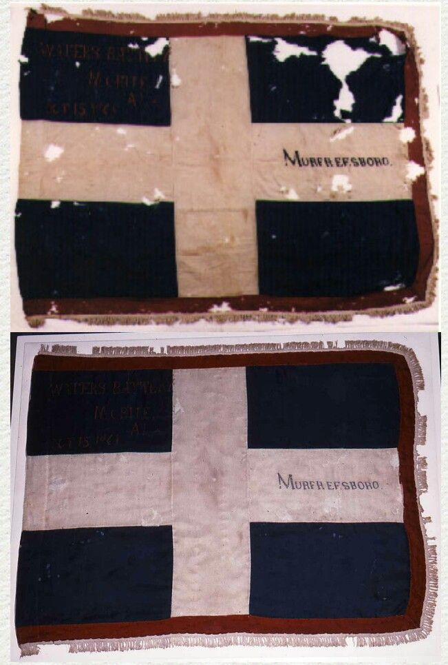 Images of flag of Waters' Battery before (L) and after (R) conservation treatment. Flag: Waters' Battery Catalogue No. 86.3925.1 (PN10157-10158) Order a copy print Provenance Reconstruction: This flag is believed to have been issued to Waters' Battery of Mobile, Alabama early in 1863. Only two other flags of this design (white St. George's Cross on a blue field) are known to have survived. One, the flag of the 22nd Alabama Infantry (86.2759.1) is in the Archives' collection. The other flag…