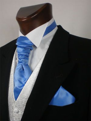 Cornflower Blue Wedding Scrunchie Cravat Mens and Boys