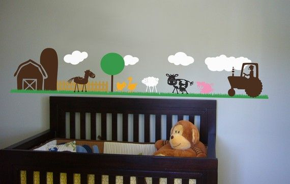 Farm Scene Vinyl Wall Art Decal Sticker by decalfarm on Etsy, $80.00