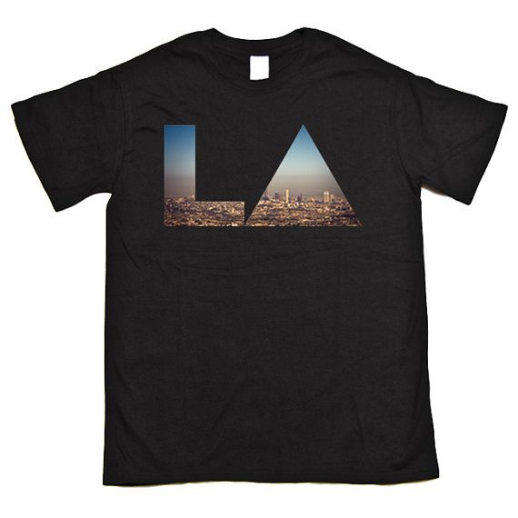 LA Los Angeles CIty Landscape Hipster Triangle California T Shirt Men/Women DTG135 on Etsy, $16.03