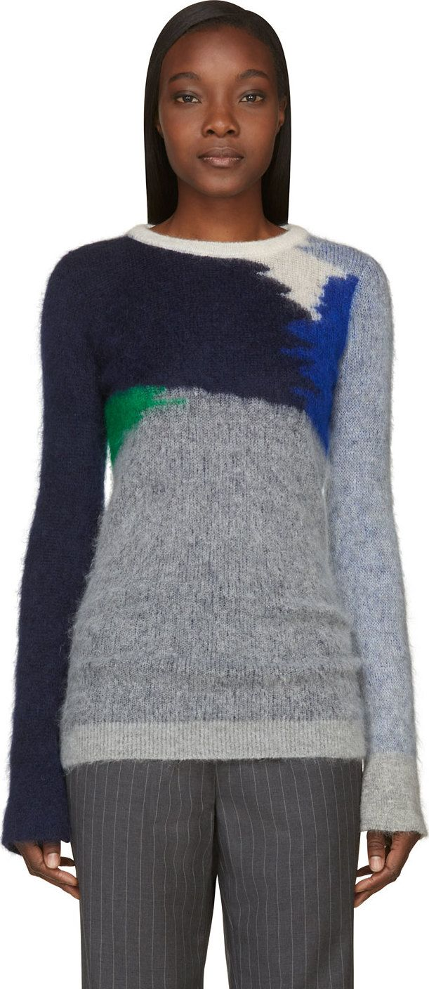 Stella McCartney: Dark Blue Colorway Intarsia Mohair Sweater | SSENSE
