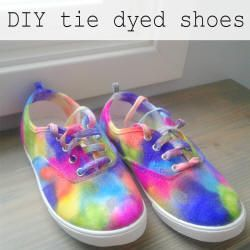 DIY tie dyed shoes!  Great tutorial on how to fancy up those cheap canvas shoes to any color or design you want.  Find out how to make them at www.CrazyDiyMom.com