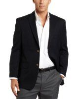 Haggar Men's Solid Two Button Center-Vent Sport Coat Price:	$89.99 FREE Shipping. You Save:	$90.01 (50%) Features 65% Polyester/35% Viscose Rayon Dry clean only Notch collar Flap pockets A simple two-button placket and airy center vent send a streamlined message. Made in Vietnam